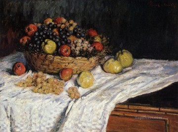 Still life Painting - Fruit Basket with Apples and Grapes Claude Monet still lifes